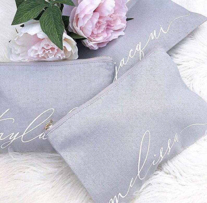 Wedding - Personalised canvas Monogram Makeup Bag - Cursive Script CUSTOM NAME Teal Blush Pink Grey Black Make Up Bag - Bridal Party Bridesmaid Gifts