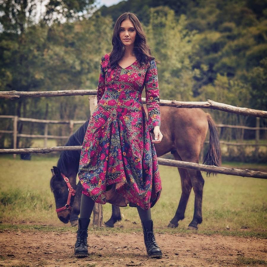 Свадьба - Long Boho Floral Dress/ Asymmetrical Maxi Dress/ Long Sleeve Dress/ Dress With Pockets/ Bohemian Winter Dress