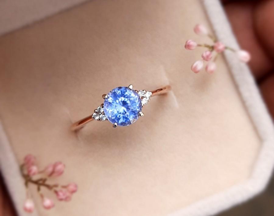Wedding - Light Blue Sapphire Ring , Ceylon Sapphire Ring , Round Sapphire Ring , Ocean Blue Sapphire Ring