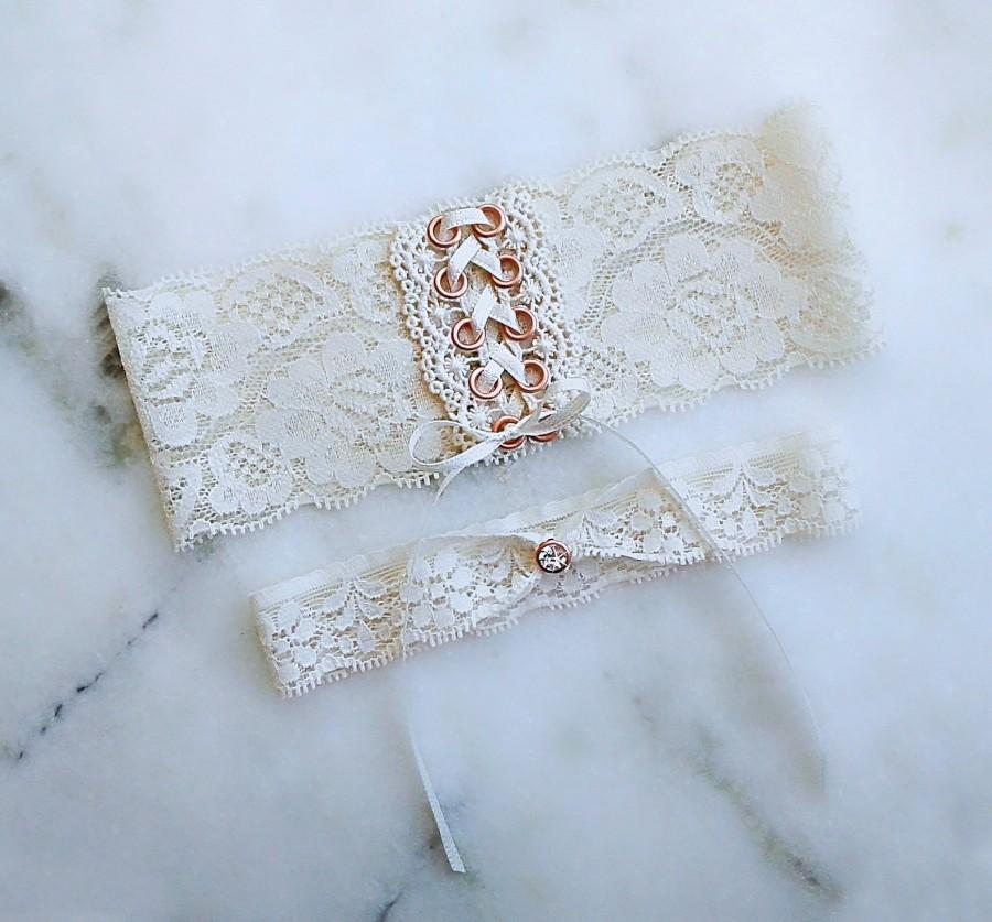 Wedding - Corset Wedding Garter Set, Garter for Brides, Gold, Rose Gold, Black, Silver, Ivory, Dusty Blue, Blush, Navy, Teal, White, Adjustable Garter