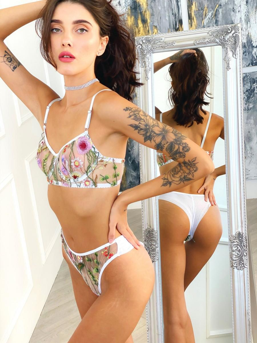 Wedding - Custom made bra and panty See through bra and panties Floral embroidered thong Mesh lingerie set floral Embroidered lingerie set Sheer panty