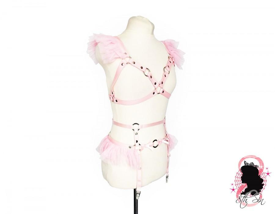 Wedding - Pink Faux Leather Caged Mesh Body Harness Set, Pink Cage Harness Set, Pink DDLG Harness Set, Pink Ruffled Harness Set, Kawaii Lingerie Set