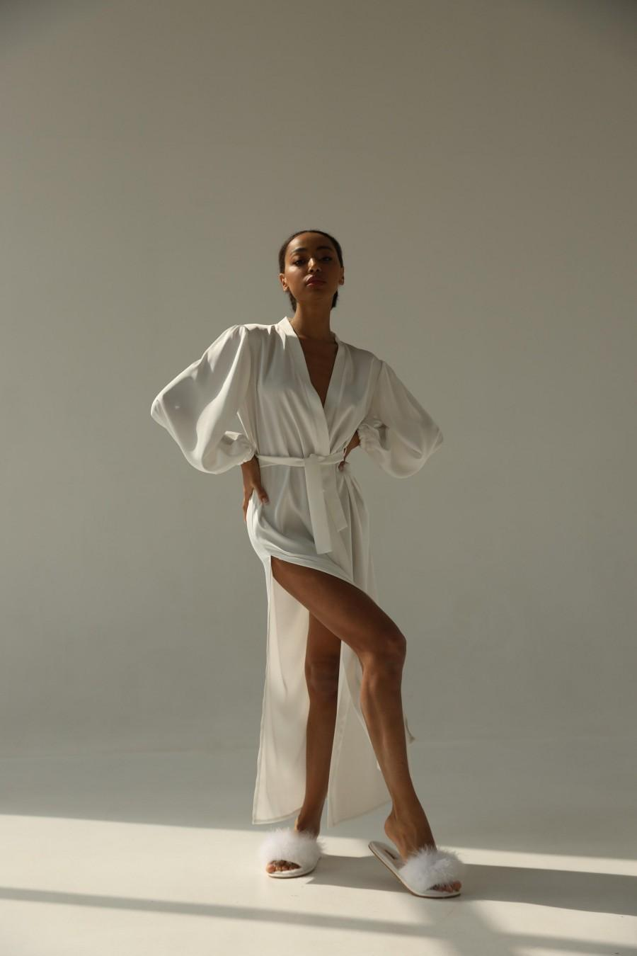 Wedding - Bridal robe with wide sleeves Bride robe Long white robe Satin silk boudoir robe Dressing gown  Bridesmaid gift