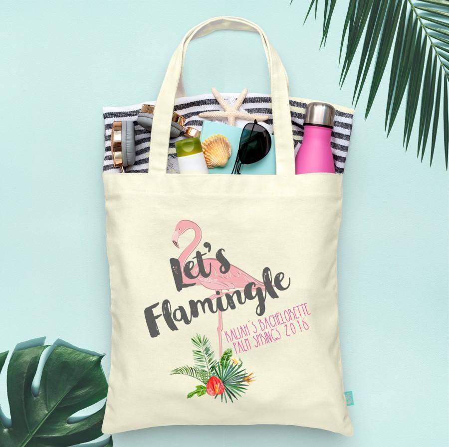 Hochzeit - Flamingo Tote Bag, Lets Flamingle, Bachelorette Party Tote Bag, Wedding Welcome Tote Bag, Unique Tote Bag, Printed Tote Bag, Custom Tote