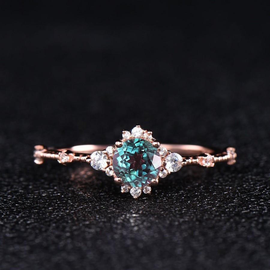 زفاف - Dainty Rose Gold Alexandrite Engagement Ring CZ Diamond Minimalist Women Wedding Ring Sterling Silver 14k Bridal Promise Anniversary Gift