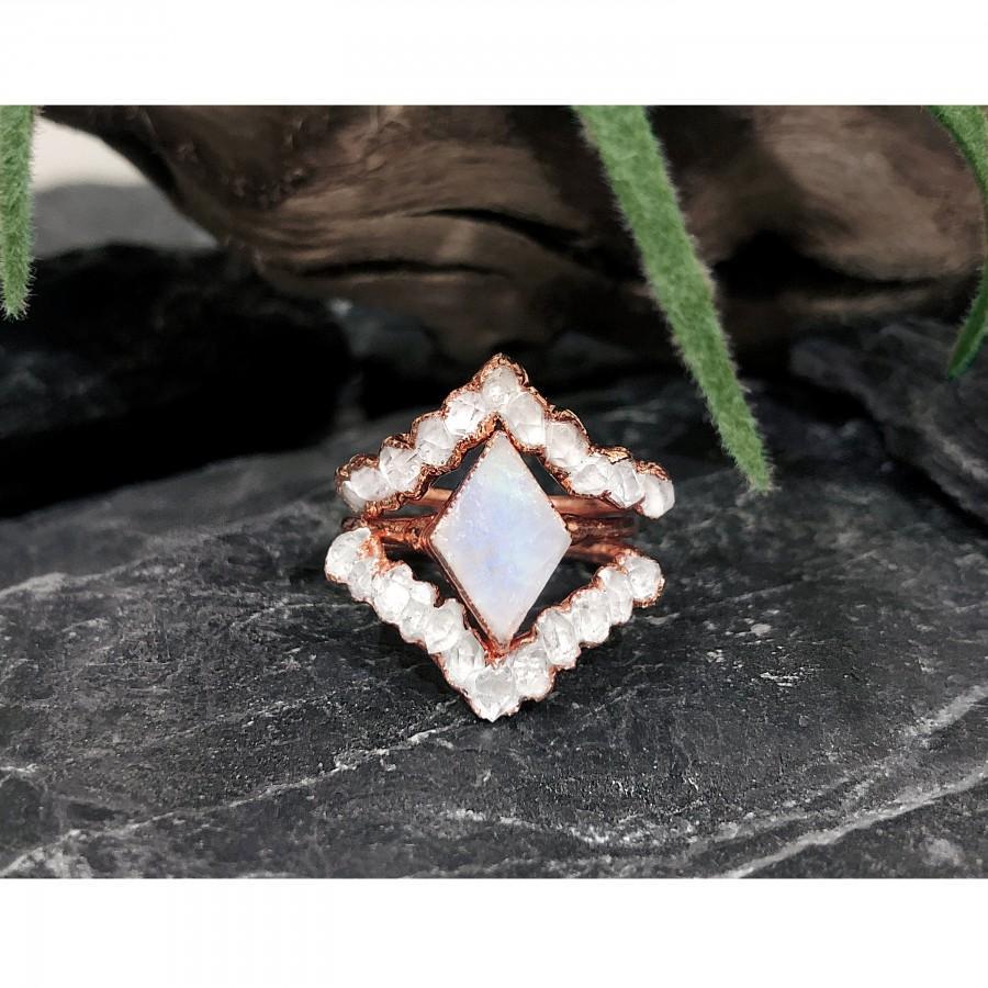 Wedding - Raw Moonstone Ring, Raw Diamond Ring, Raw Stone Engagement Ring, Raw Herkimer Diamond Ring, Alternative Engagement Ring Set, Raw Gemstone