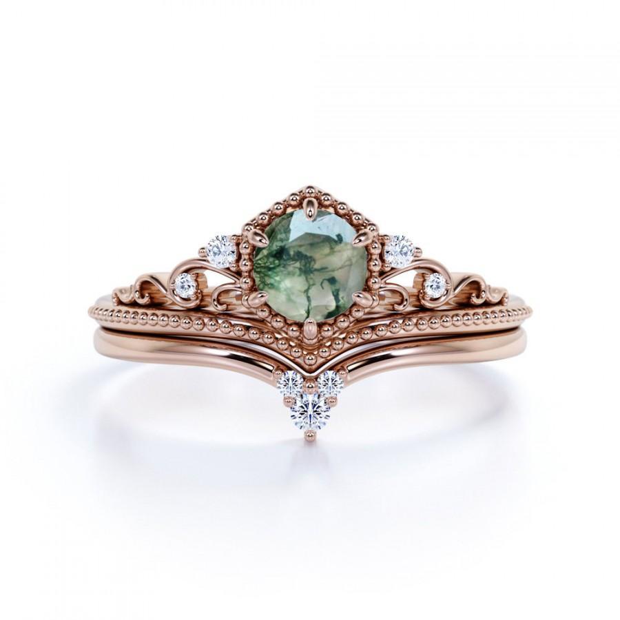 Wedding - Vintage Crown Ring, Moss Agate Bridal Set, Alternative Gemstone Ring Set, Unique Gemstone Jewelry, Silver Moss Agate, Green Gemstone Rings