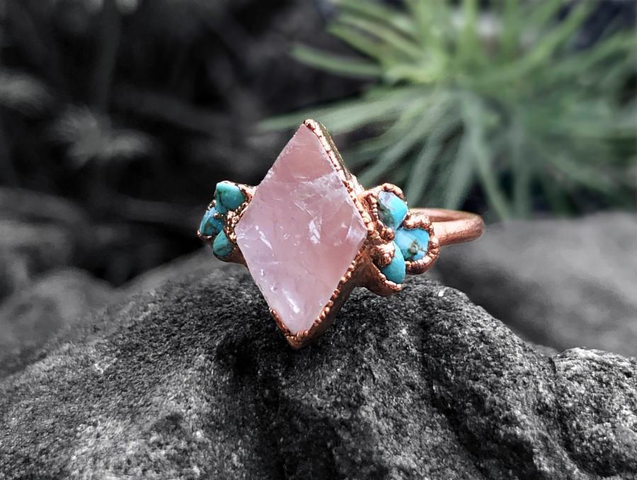 Hochzeit - Raw Rose Quartz Engagement Ring For Woman, Raw Turquoise Ring, Raw Stone Wedding Ring, Alternative Engagement Ring Set, Raw Gemstone