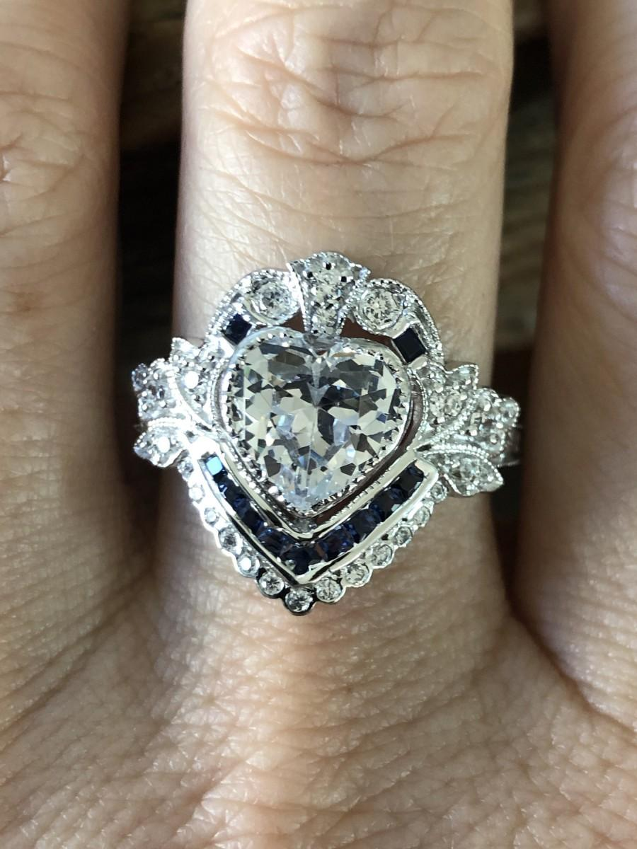 Свадьба - Vintage Art Deco Heart Blue Sapphire Ring Size 8.5