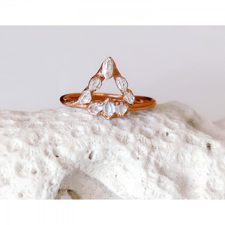 Wedding - Raw Gemstone Wedding Ring Set For Woman, Raw Herkimer Diamonds Ring, Raw Diamond Ring, Alternative Engagement Ring Set, Stacking Ring