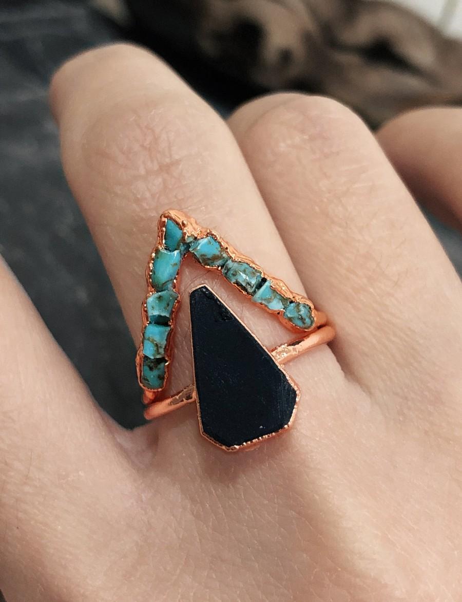 Wedding - Raw Turquoise Engagement Ring Set For Women, Raw Black Onyx Ring, Raw Stone Ring, Raw Gemstone Ring, Rough Stone Ring, Raw Onyx Ring