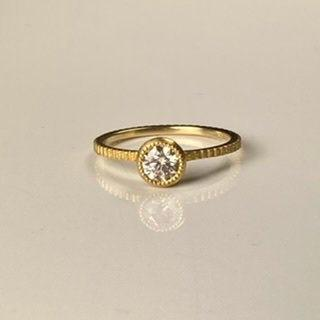 Wedding - 14 Karat Yellow Gold Engagement Ring, Engagement Ring with Light Brown Diamond, Thea Ring, Handmade in Los Angeles