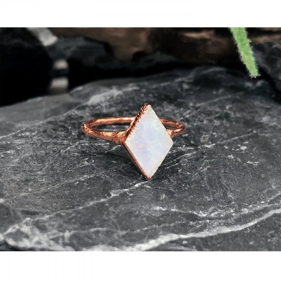 Hochzeit - Natural Raw Rainbow Moonstone Ring, Raw Stone Engagement Ring, Raw Stone Ring, Raw Gemstone Ring, Crystal Engagement Ring, Promise Ring