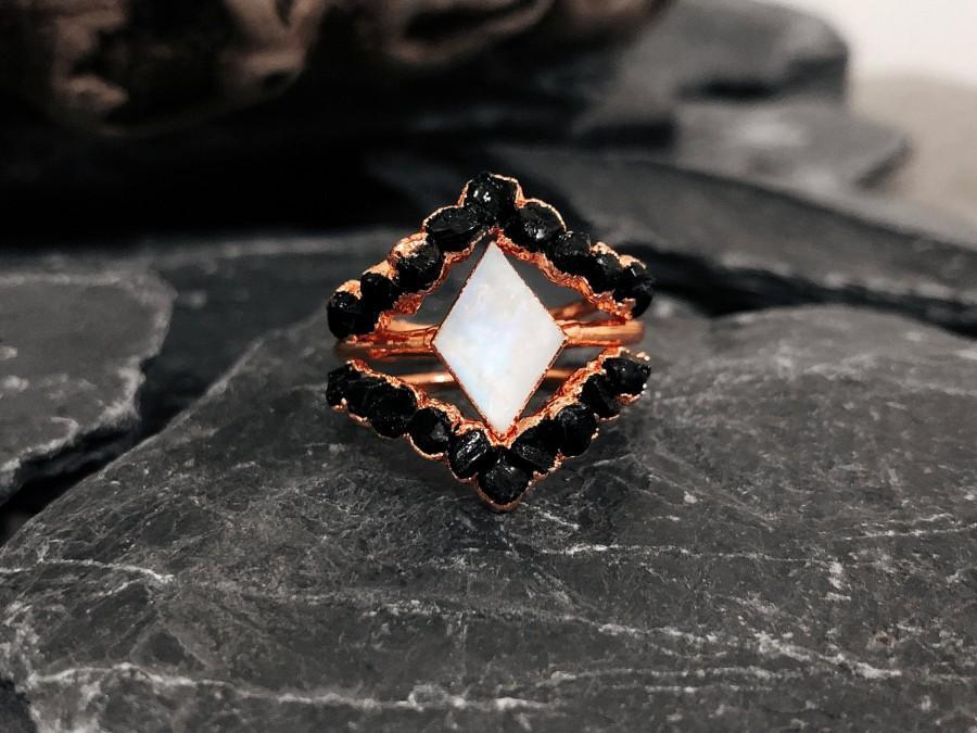 Wedding - Raw Black Tourmaline Engagement Ring For Woman, Herkimer Diamond Ring, Raw Diamond Ring, Raw Gemstone ring, Black Tourmaline Wedding Ring