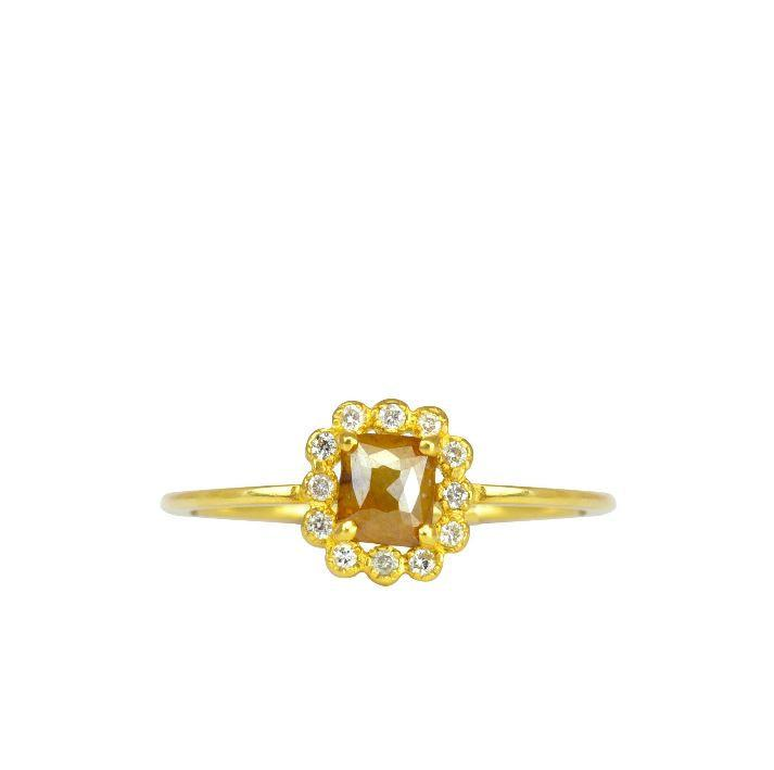 Wedding - 18 Karat Engagement Ring in Yellow Gold, Engagement Ring with Center Stone Rose Cut Diamond, Roan Ring, Handmade in Los Angeles
