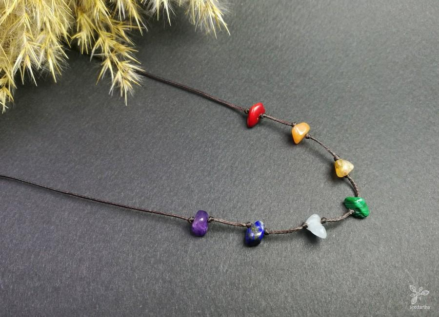 Свадьба - 7 Chakra Necklace • Raw crystal necklace. Healing Chakra crystal. Spiritual gift. Anxiety necklace. Yoga wear. Meditation gift. Love crystal