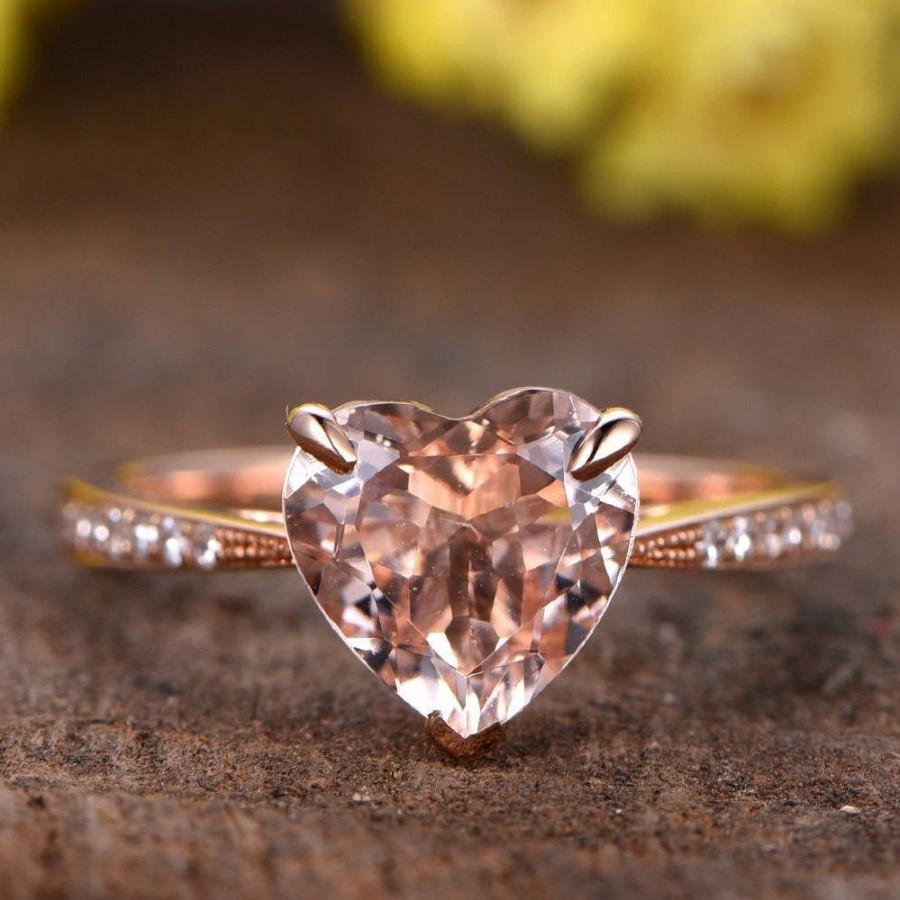Hochzeit - 1.4ctw Pink Morganite engagement ring half eternity diamond wedding band 7mm heart shape morganite  rings for women promise ring Jewlery