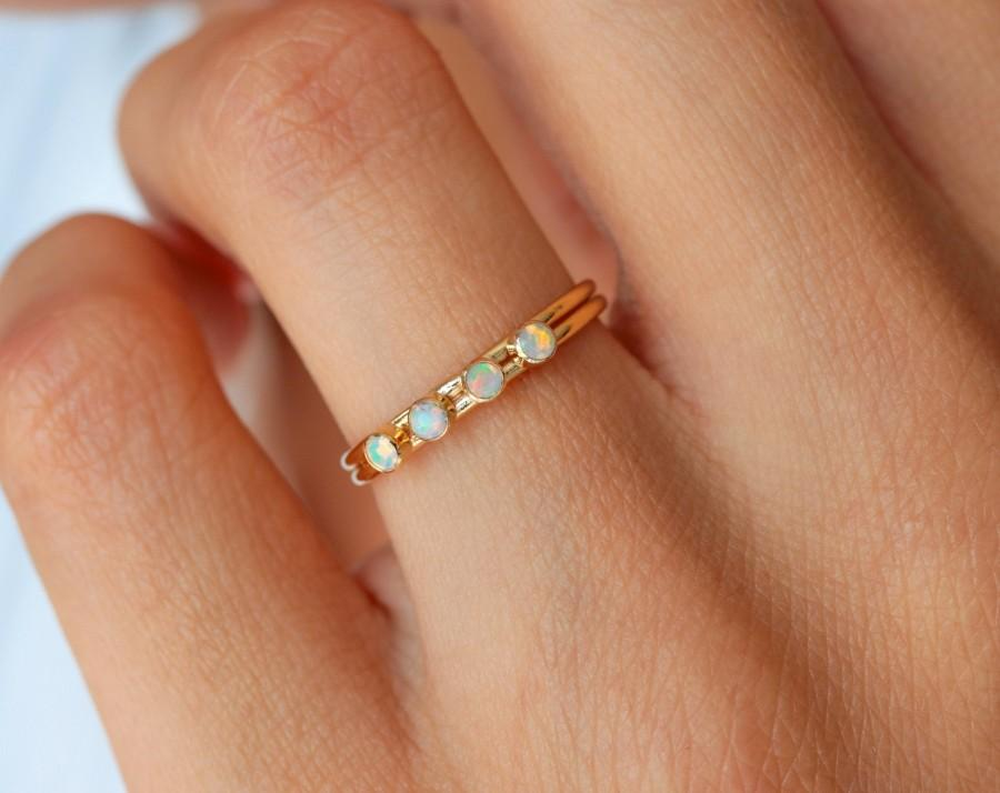 Свадьба - Dainty opal ring, personalized ring, gold filled ring, minimalist ring, engagement ring, ring for women, elegant ring, birthstone ring