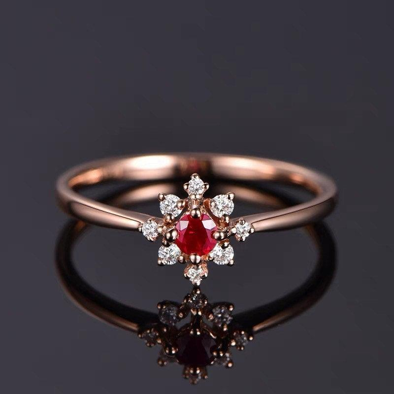 Hochzeit - Ruby Diamond Floral Halo Engagement Ring - Red Promise Ring - Anniversary - Birthday Gift - 18K Rose Gold - Dainty Cluster Friendship Rings