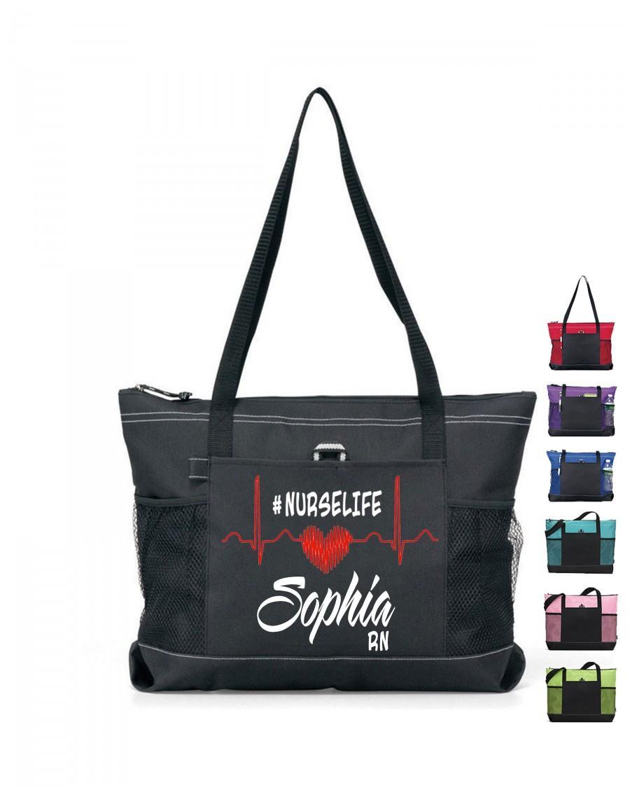Свадьба - Custom Nurse Bag, Personalized Tote Bag with Zipper, Monogrammed tote bags, Custom Tote Bag for nurse, nurse life tote, RN gift for nurse