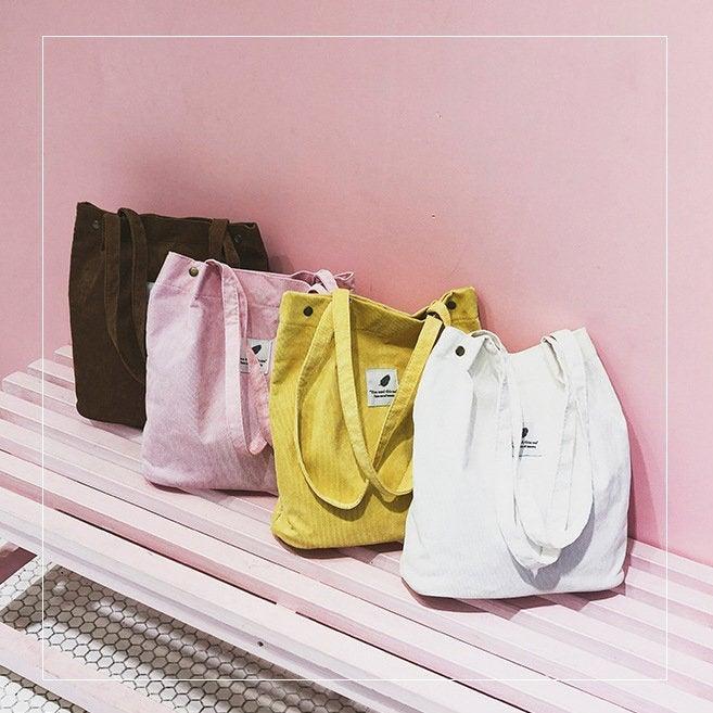 Wedding - Tote Bag, Corduroy Bag, Canvas Bag, Casual Crossbody Bag, Corduroy Handbag, Messenger Bag, Women Bag, Gift For Her, 8 Colors Shoulder Bag