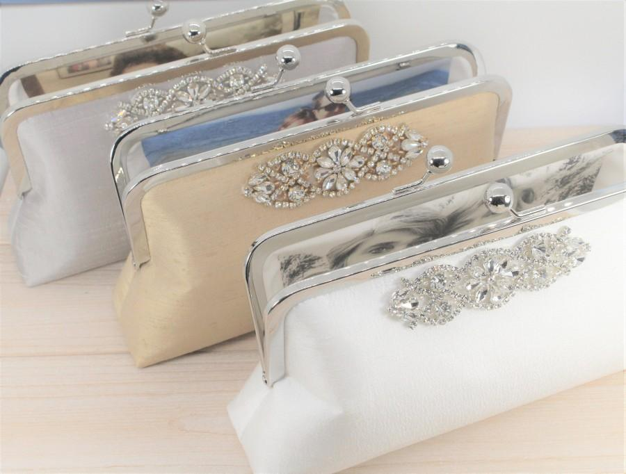 Свадьба - Silk Clutch with Photo Lining - Mother of the Bride Gift - Mother of the Groom Gift - Wedding Clutch - Bride Clutch - Choice of Colors