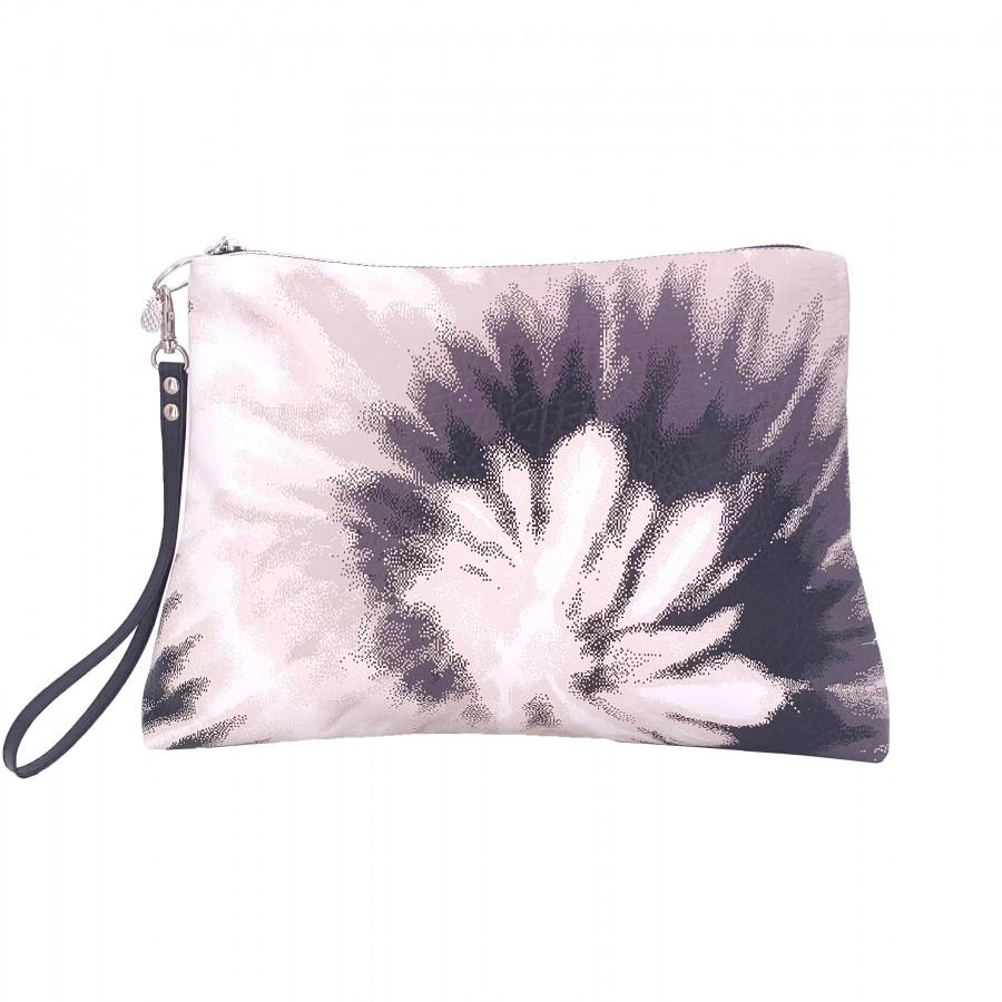 Wedding - HALSEY TIE DYE blush large Nappa leather clutch pouch bag printed textured zippered purse