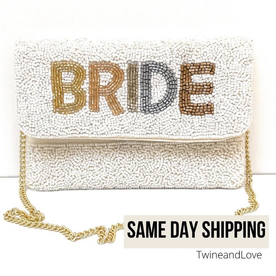 Wedding - BRIDE Clutch Purse, Gift For Bride, Seed Beaded Clutch Purse, Bridal Purse Clutch, White Beaded Wedding Purse, Bride Gifts, Bridal Gifts