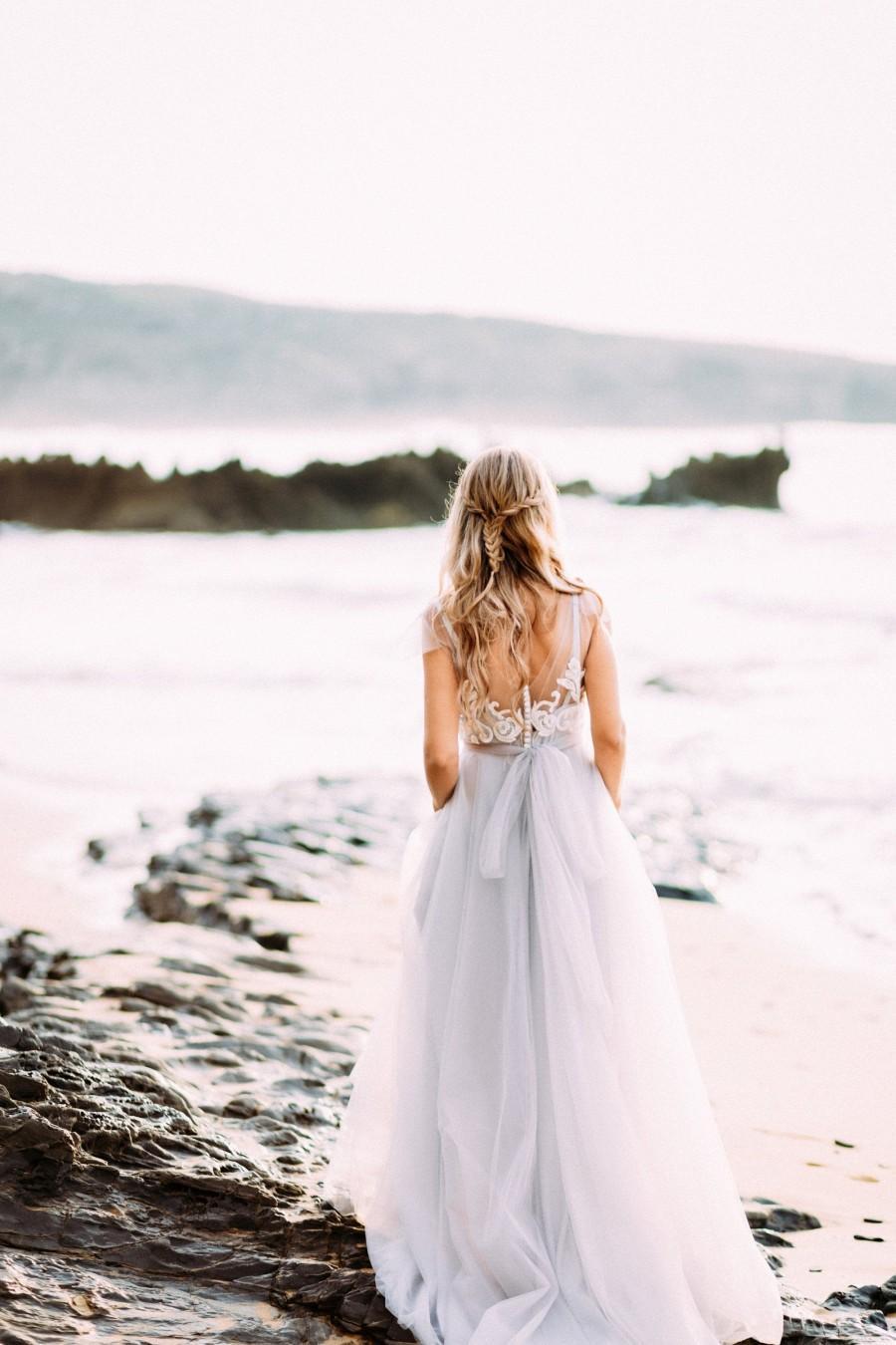Wedding - Grey blue wedding dress sleeves with off-white lace, non-corset, simple, Boho wedding dress