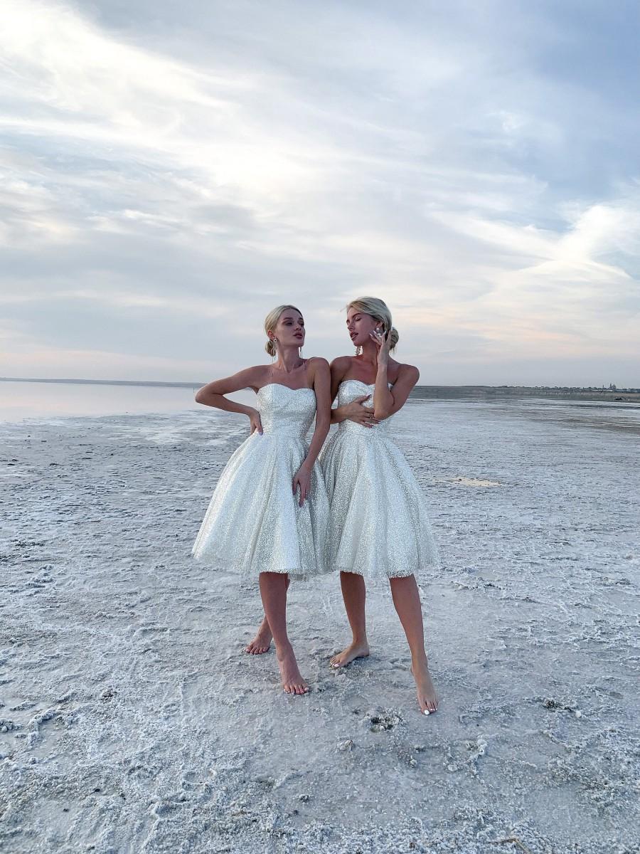 Mariage - glitter lace wedding dress knee length, corset wedding dress sweetheart, shimmer coctail dress summer, homecoming dresses short, prom dress