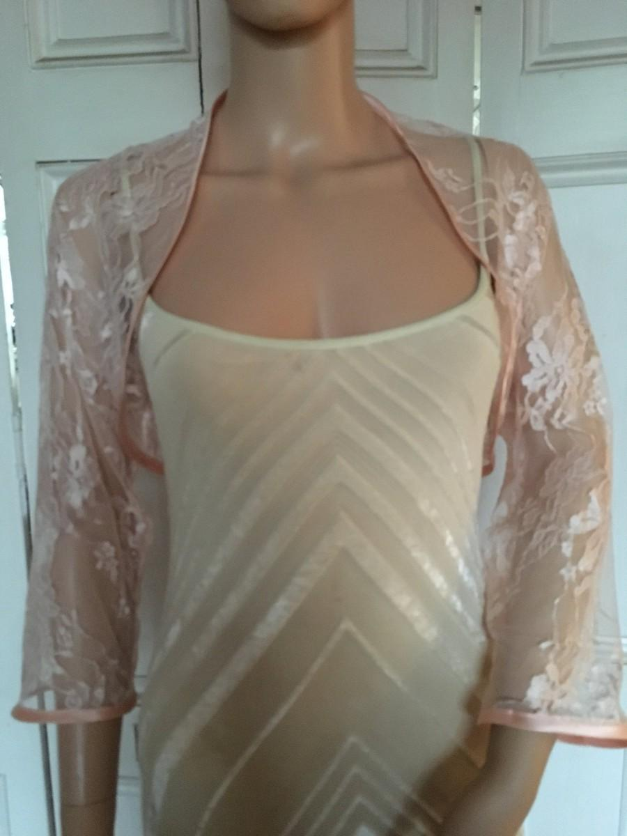 Mariage - Rose Gold lace three-quarter length sleeved bolero/shrug/jacket  with satin edging