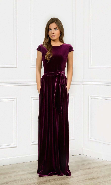 Mariage - Dark Purple Velvet Maxi Bridesmaid Dress Round Neck Deep V- Back Cup Sleeves With Pockets Sash Waistband