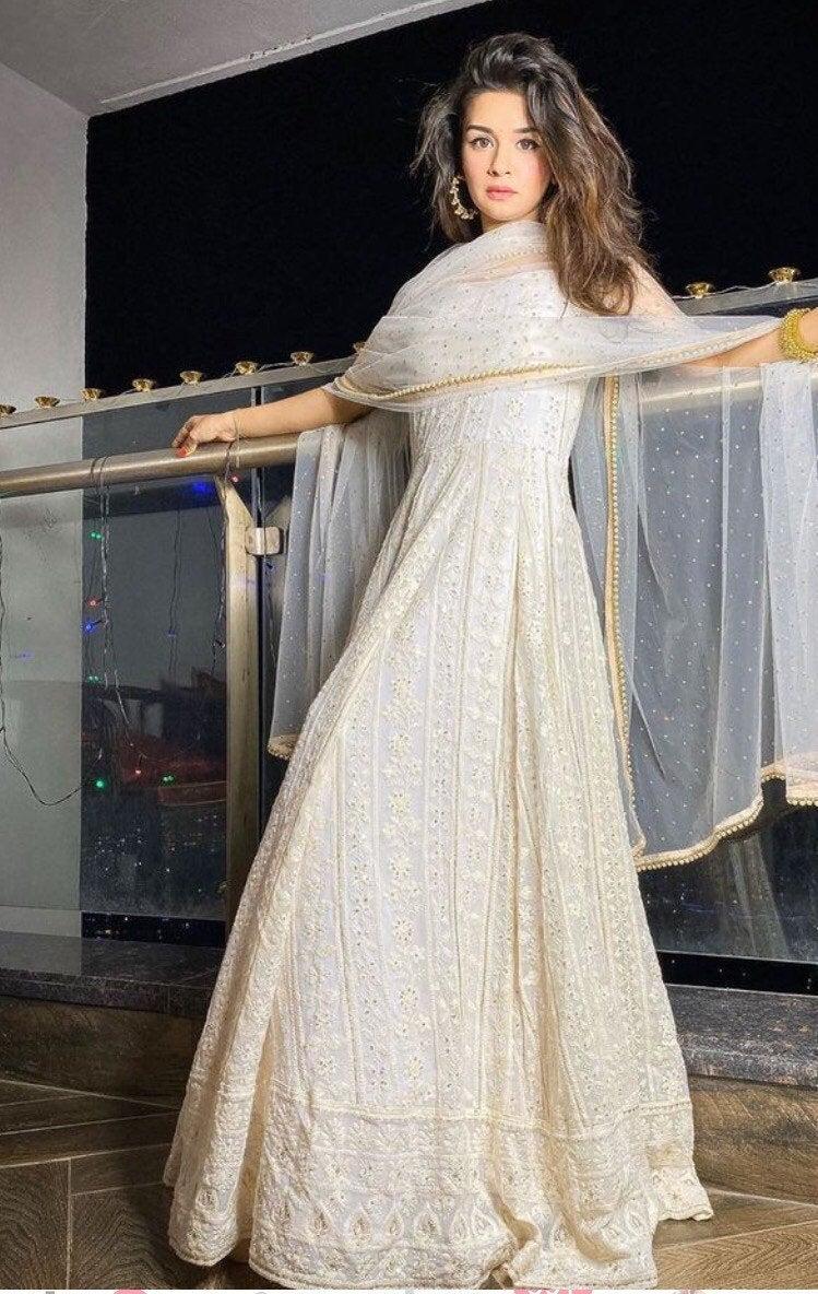 Wedding - chikan Lucknowi thread embroidery georgette kaftan gown dress indian designer wedding wear women dresses pakistani clothes Anarkali Suits