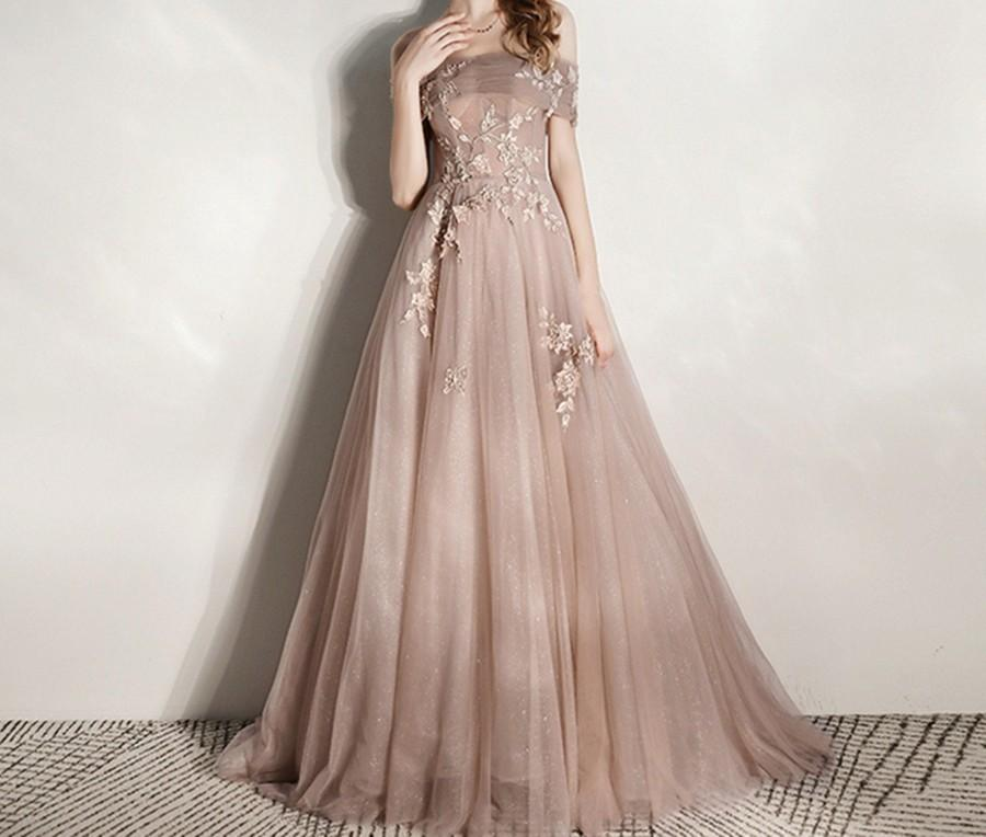 Wedding - Lace Applique Prom Dress Sparkly Girls Party Dress Champagne Long Evening Dress Elegant off Shoulder Ball Gown Sweep Train Banquet Dress