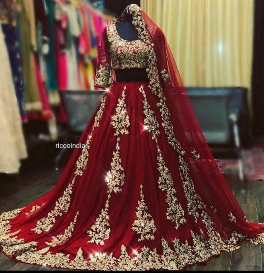 Wedding - Purple Blue Red Pink Lehenga and Blouse Gold Zari Work Lengha Choli Indian Wedding Lehenga Bollywood Wear Skirt Top Stitching on Wish