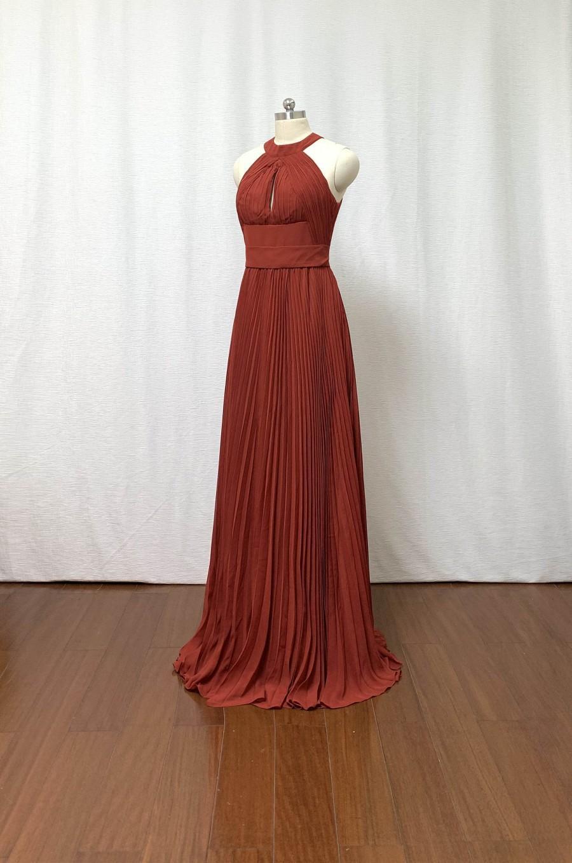 Wedding - Pleated Rust Chiffon Long Bridesmaid Dress