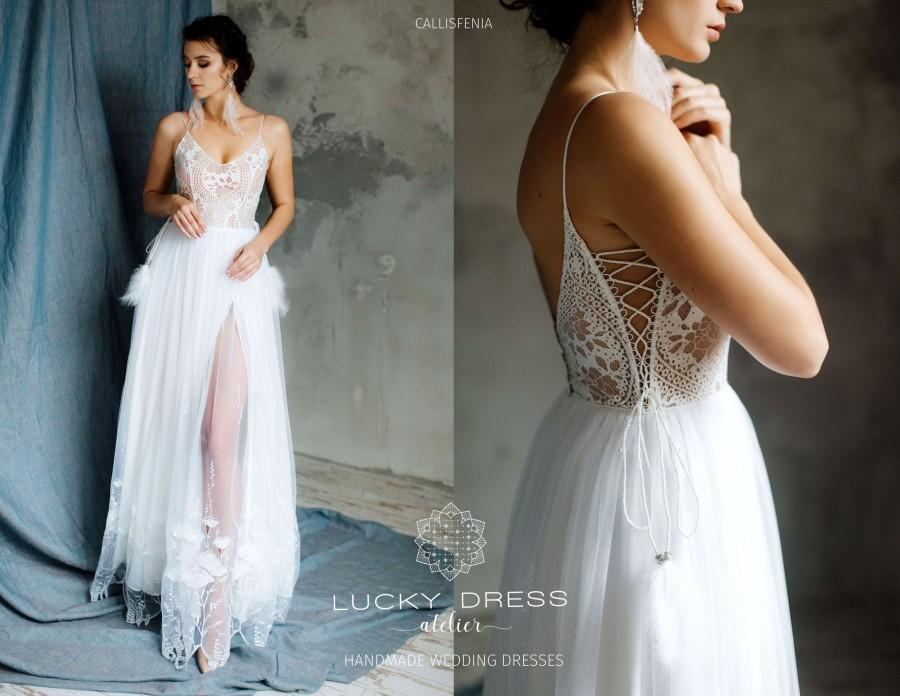 Wedding - Boho wedding dress with cutouts Rustic wedding dress A-line Sexy wedding dress Swarovski Feathers bridal gown bohemian Lace wedding dress