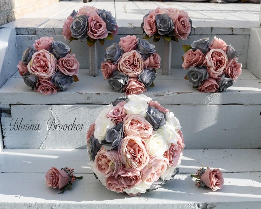 زفاف - Dusty Rose, Grey and  Ivory Wedding Bouquet, Wedding Flowers, Bridesmaid Bouquets, Corsage, bridal Flower Package