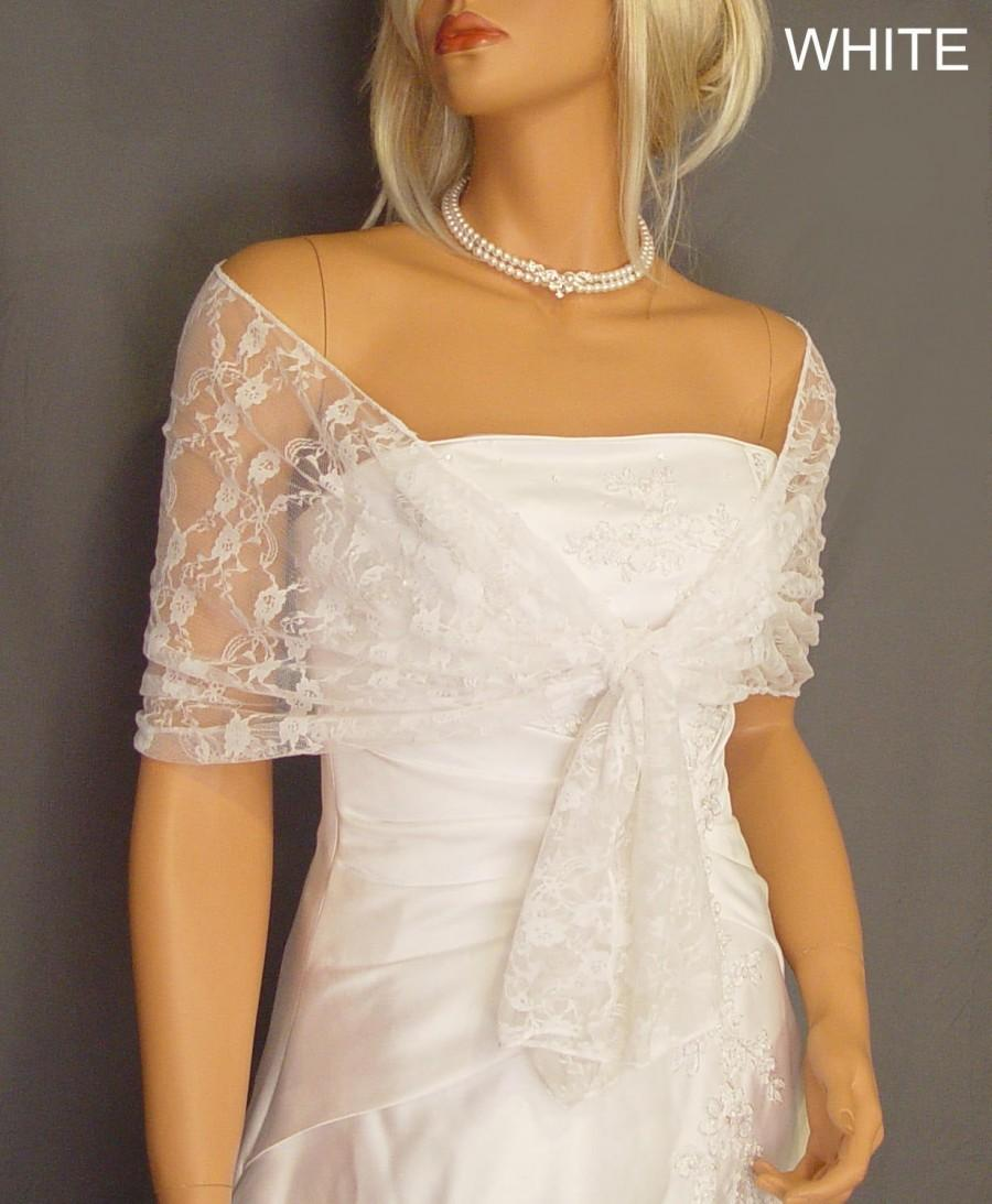 Свадьба - Lace pull thru bridal wrap wedding shawl scarf cover up long sheer prom evening shrug stole LW300 AVAILABLE IN white and 6 other colors