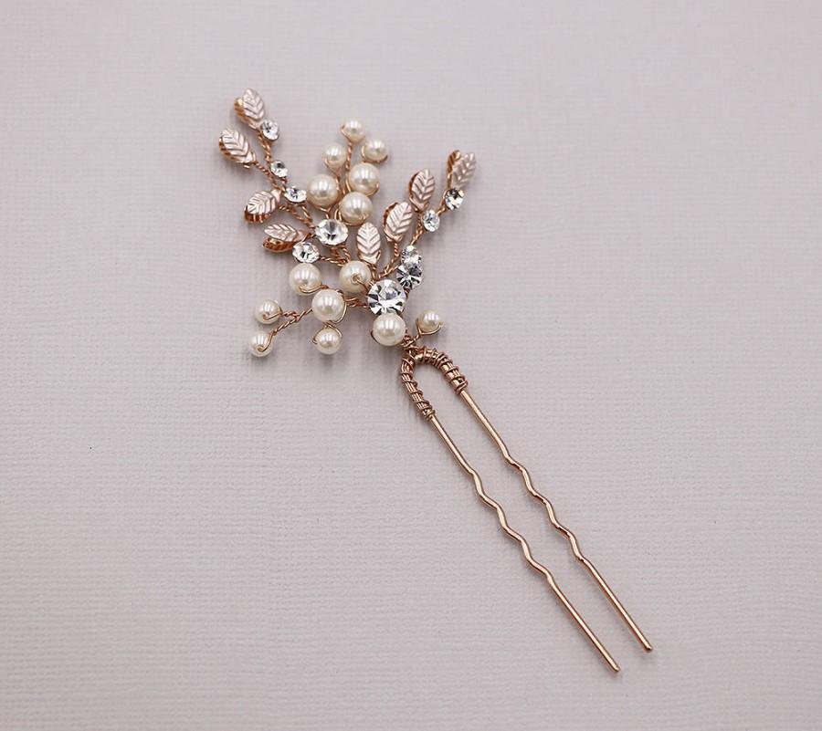 Свадьба - Rose Gold Hairpin, crystal rose gold wedding hair pin, rose gold hair pin, pearl rhinestone hairpin, Pearl Twigs Rose Gold Hairpin