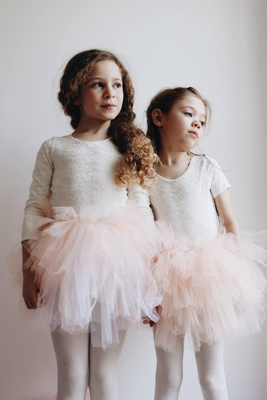 Wedding - Handmade lace and cotton leotard flower girl