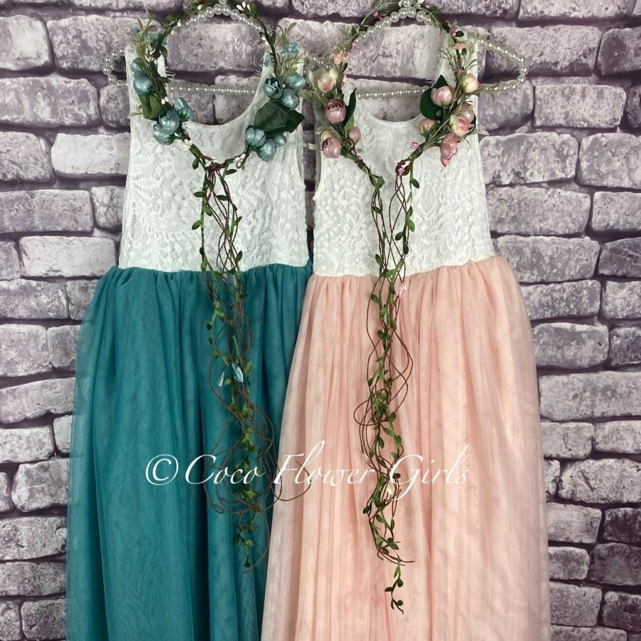Wedding - Sleeveless Long Length Teal or Blush Bohemian Flower Girl Dress - with Optional Diamante Sash or Flower Waist Corsage
