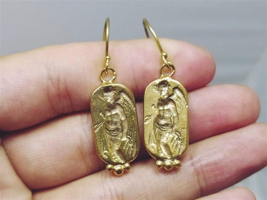 Wedding - Ancient Greek Angel Earrings Roman Coin Silver  925K Sterling Silver  Gold Over Dangle Earrings Roman Coin Earrings