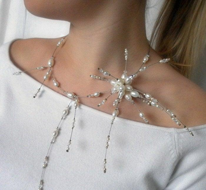Wedding - Pearl Necklace, White freshwater pearl, pearl Star design -  unique gift for her, wedding necklace