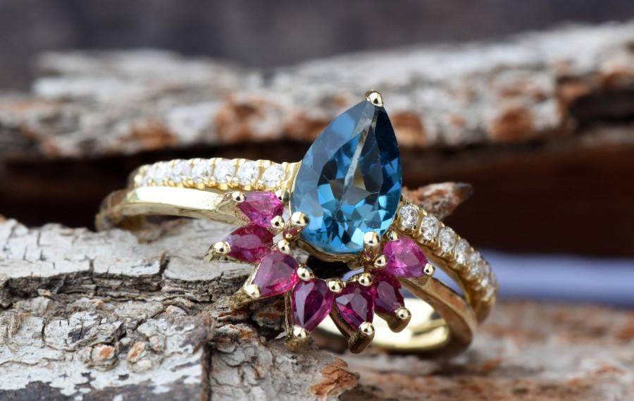 Wedding - London blue topaz pear cut ring yellow gold-Bridal set rings yellow gold-Promised ring-Cluster wedding set-Ruby Ring