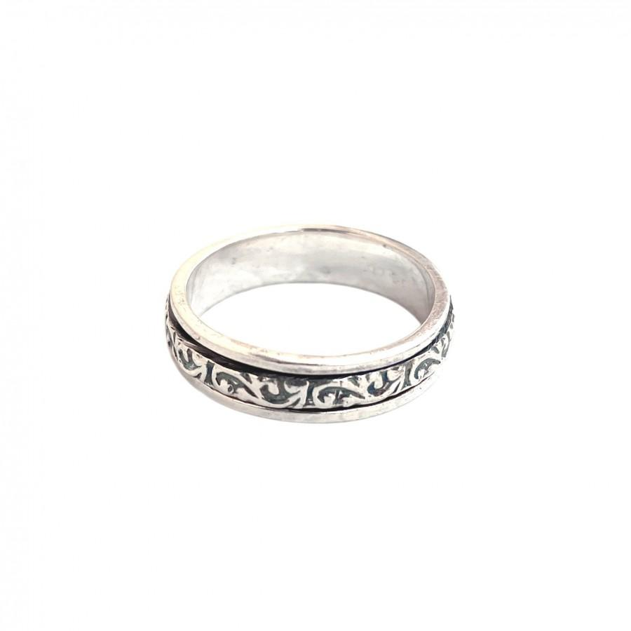 Wedding - Spinner Ring, Anxiety Ring, Fidget Ring, Boho Ring, Worry Ring, Dainty Ring, 925 Silver Ring, Texture Ring, Women Ring, Gift For Her