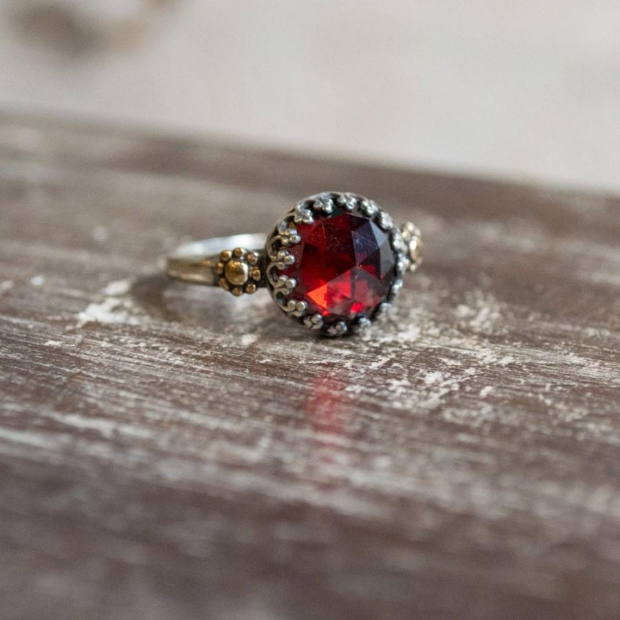 Wedding - Garnet Engagement simple silver gold floral crown ring - The magic moment R2264