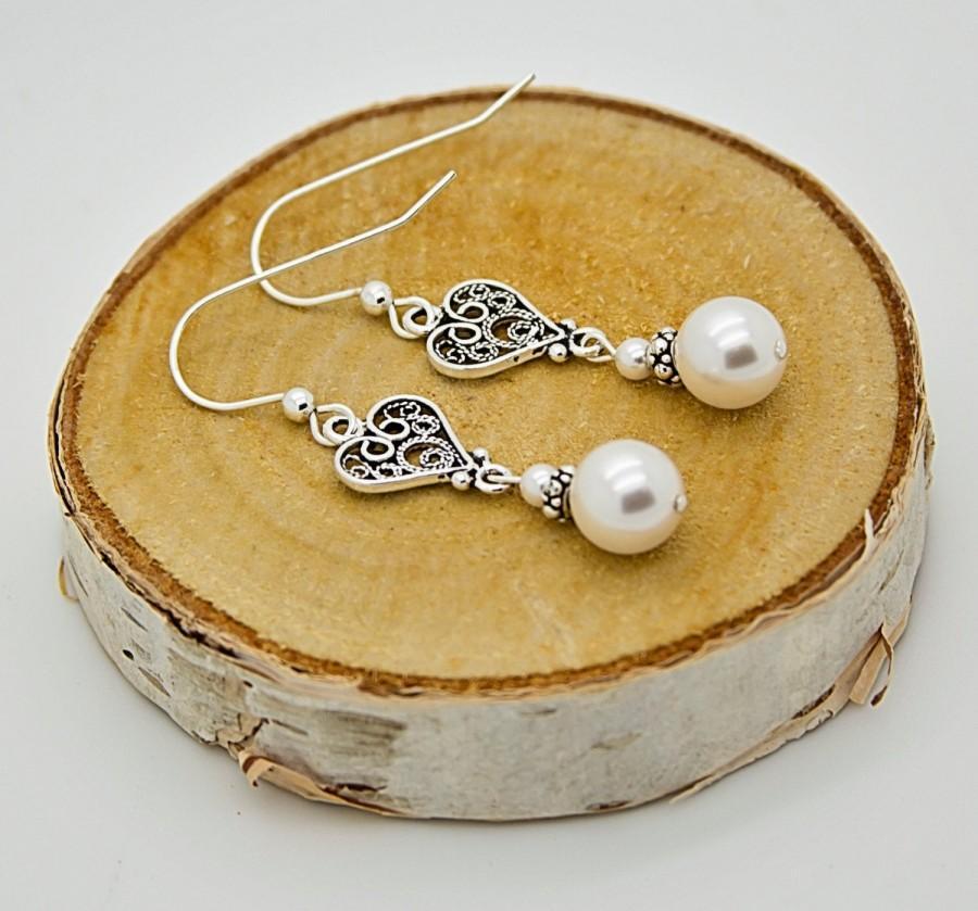 زفاف - Pearl Earrings For Mother of the Groom, Vintage Style Dangle Earrings for Wedding, Mother Of The Bride Gift, Bridesmaid Silver Earrings Gift