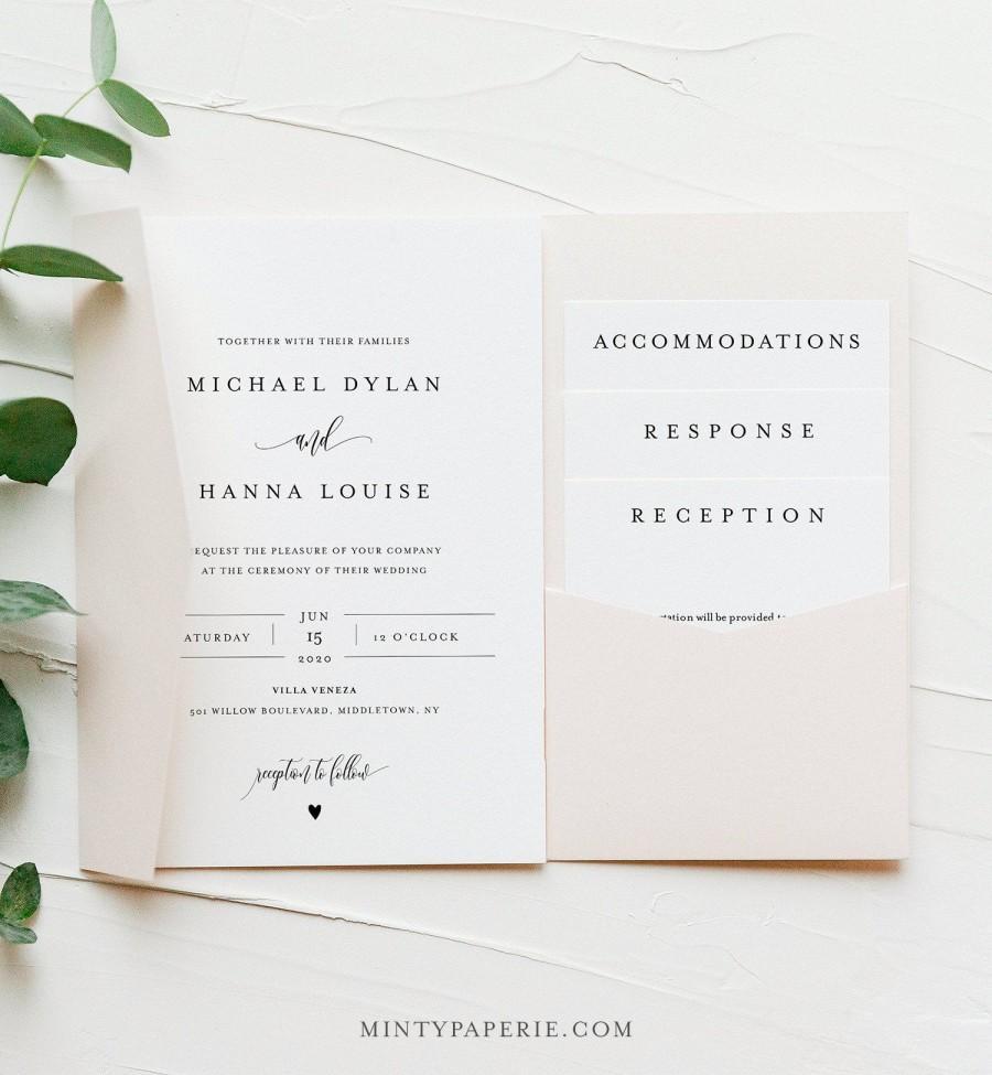 Wedding - Minimalist Pocket Wedding Invitation Set, Modern Elegant Invite & Enclosure Cards, Instant Download, 100% Editable Template, Templett #008PF