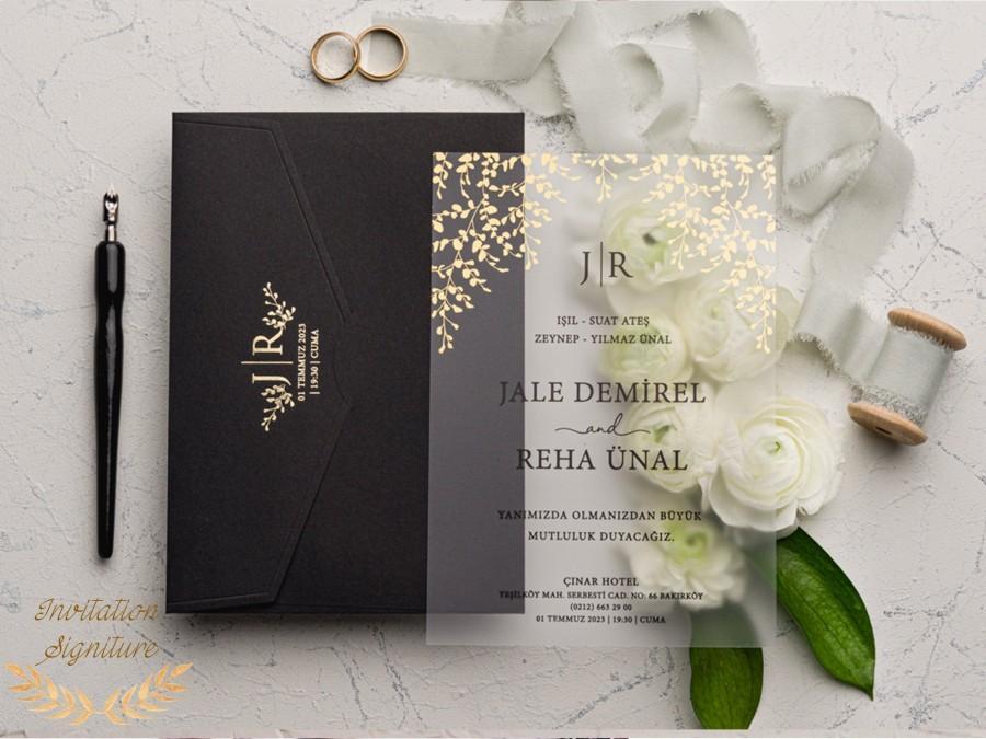 Свадьба - Wedding Invitation, Acrylic Invitations, Acrylic Gold Invitations, Minimalist Design, Clear Acrylic Invitation, Wedding Invitation Set